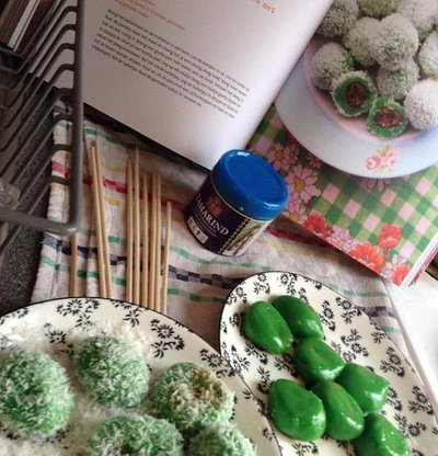 kelepon balls (Indonesian dessert)