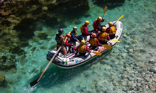Rafting on the emerald rapids of the Soča river