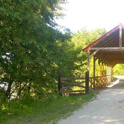 The covered bridge at .8 mile.