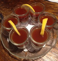 Oyster shooter six pack! Shuckers Oyster Bar, Lincoln City, OR