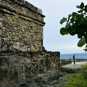 side of temple ruin and view