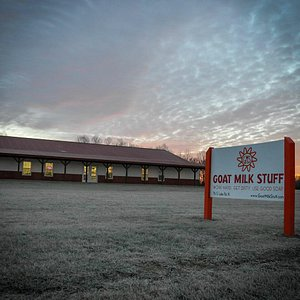 The Goat Milk Stuff production facility and retail store at sunset