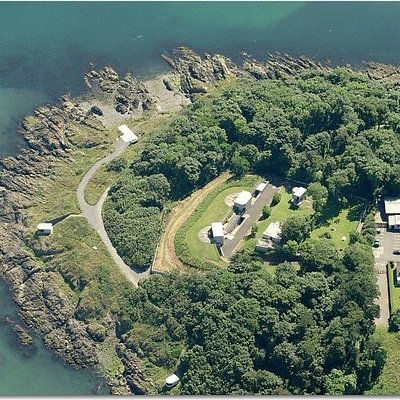 Aerial view of Grey Point Fort