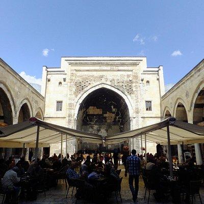 Courtyard and café inside.