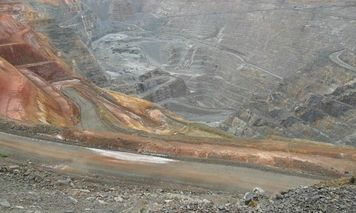 looking into the super pit you can see the winding roads carved into it.