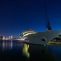 Sunborn Yacht Hotel at night