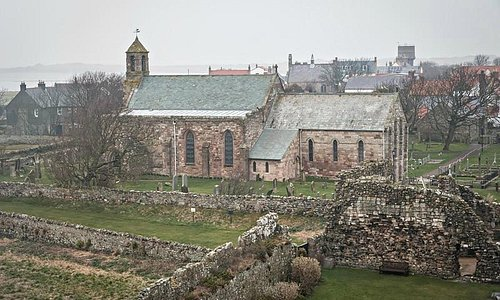 Parish Church of St Mary the Virgin Holy Island from the hill known as The Heugh