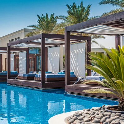 View from the pool with pool cabana