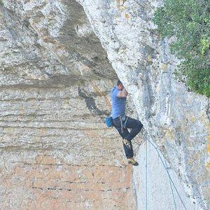 Climbing on location.