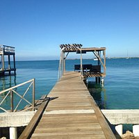 Rio Coco's dock, where you can take your cup of coffee and just chill looking out at the bay.