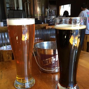 Hop Bomber IPA on the left and Starry Night Stout on the right. Nummy!