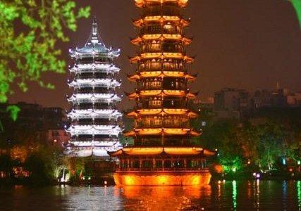 Beautiful reflection of the pagodas at night