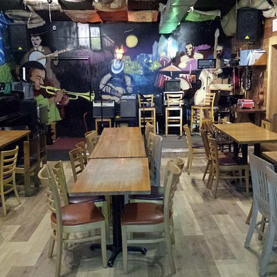 Stage area in the back of the coffeehouse.