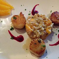 Seared sea scallops and farro.