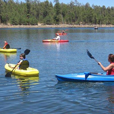 Kayaking on Willow Springs Lake,  Mogollon Rim, Arizona