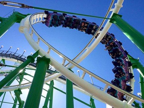 Large rollercoaster has too upside down loops.