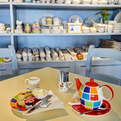 Paint a ceramic or just enjoy some light refreshment