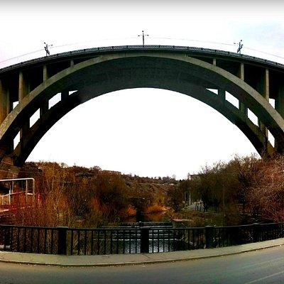 View of Kievyan Bridge from underneath along Hrazdan Riverbank Road