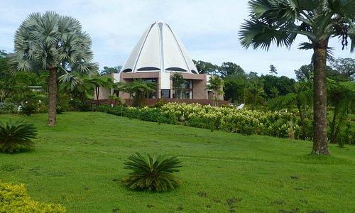 Baha'i House of Worship in extensive beautiful gardens