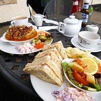 lovely lunch sat in the sunshine on Easter Sunday