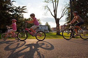 Biking on the Monon Trail that extends from downtown Indianapolis to Westfield, Indiana.