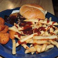 Pork sandwich - regular fries and fried macaroni bits