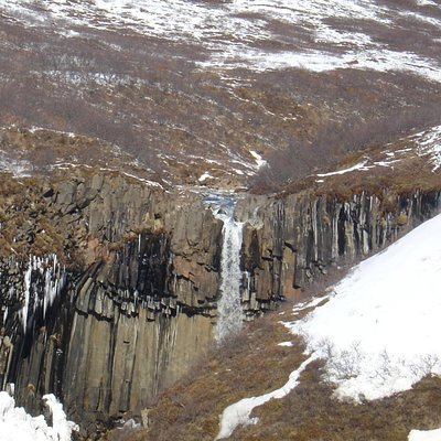 Winter at Svartifoss Waterfall