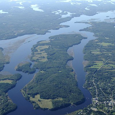 Aerial view of Swan Island