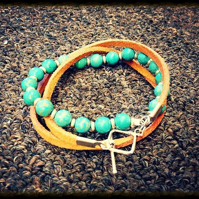 i made this turquoise and leather wrap bracelet at the Glass Bead in Avon