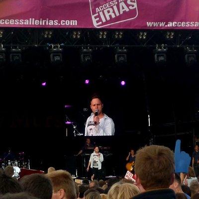 Olly Murs onstage at Eirias Stadium