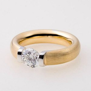 Tension Ring, 18kt yellow with Pd white gold, 1ct diamond.