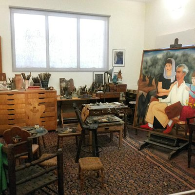 his studio on the third floor