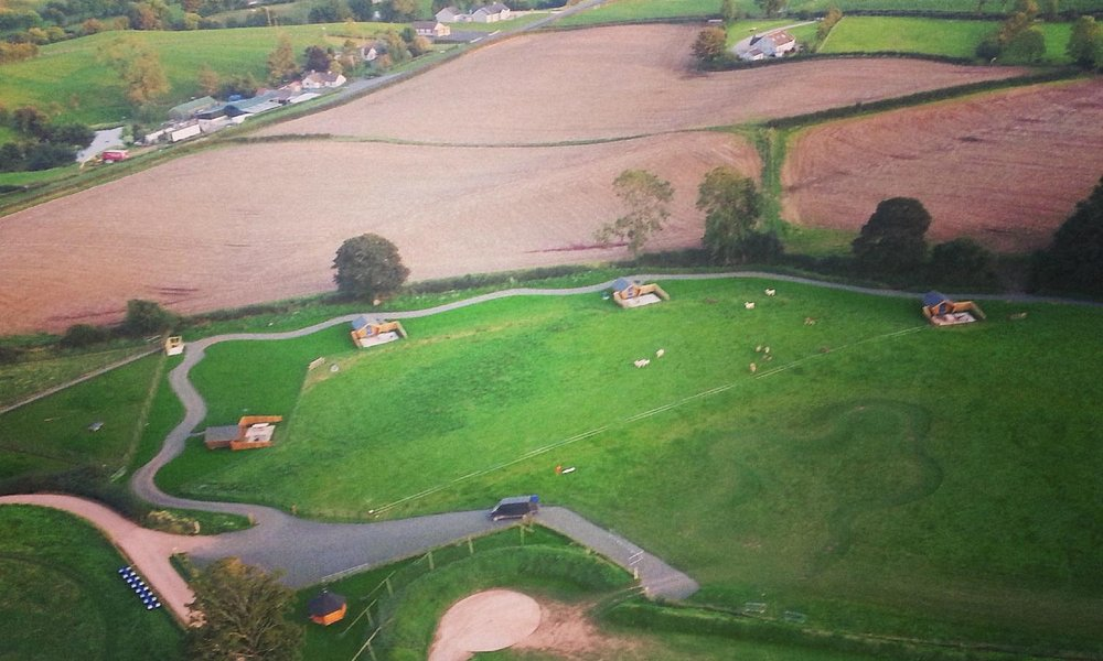 Aerial view of The Jungle's Glamping site.