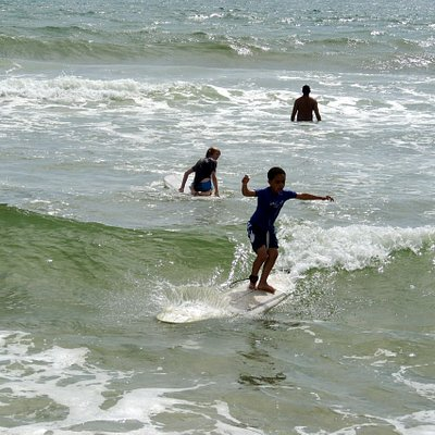 My son was up and surfing in no time!