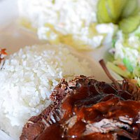 Boneless beef rib with cole slaw, potato salad, rice, and side of pulled pork