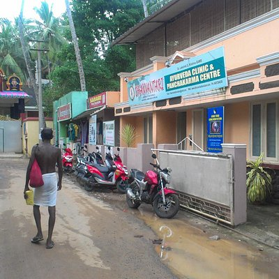 Entrance to the clinic, next to the main temple of Kovalam