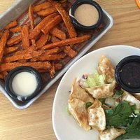 Sweet potato fries and potstickers