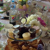 Yummy afternoon tea cakes and sandwiches