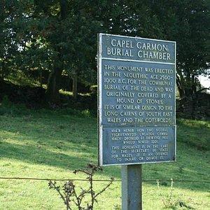 Sign describing Capel Garmon Burial Chamber