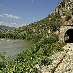 Nestos river by the railway lines