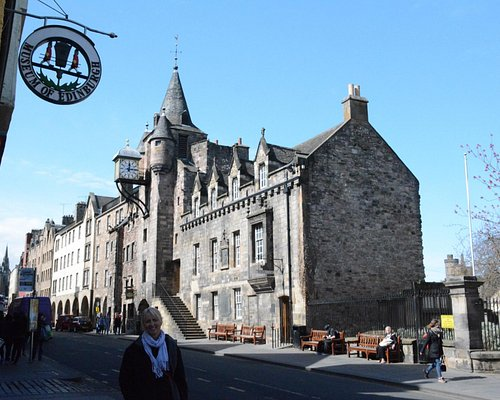 Outside the museum, opposite the Canongate Tolbooth.