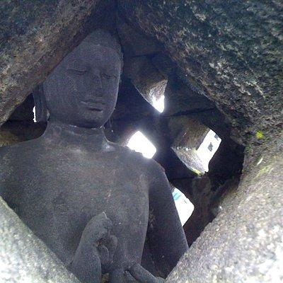 Buddha in meditation in Borobudur Temple