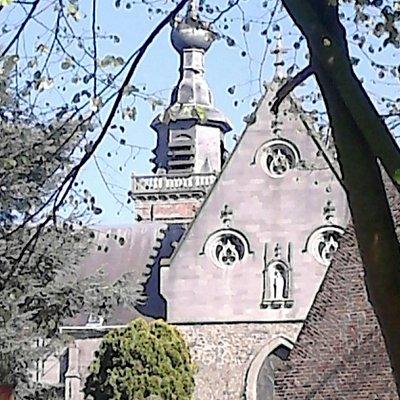 Collégiale saint Ursmer vue du parc