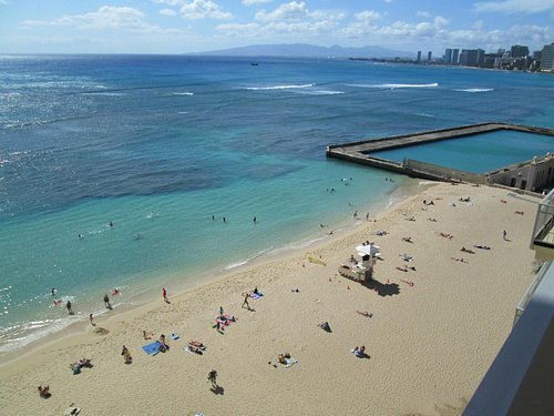 View from a lanai of San Souci Beach