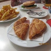 Croissant, Burger and Chips