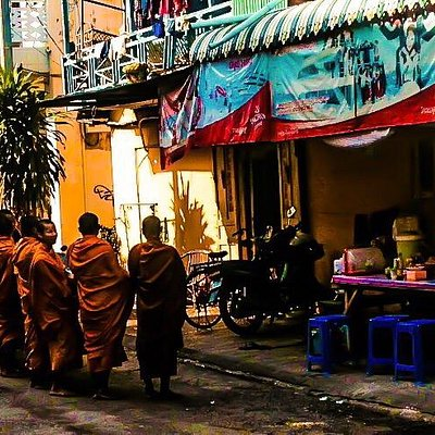Monks out seeking daily alms from their temple