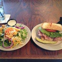 lunch salad with half ham sandwich