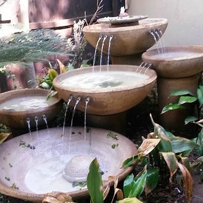 Tranquil fountains at Mangwanani Spa