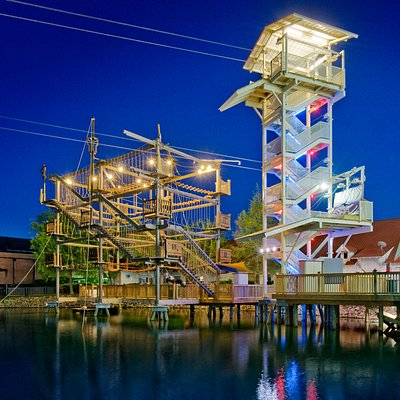 Explore 33 obstacles on a 40 foot tall ropes course!