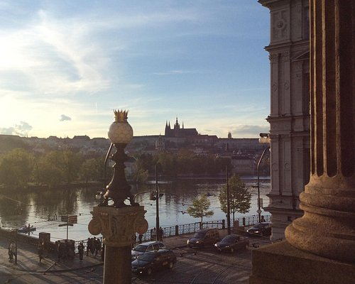 Stunning sunset over Prague castle from National Theatre terrace before we were ejected!